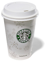 Starbucks coffee with lid on white background