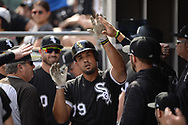 CHICAGO - AUGUST 02:  Jose Abreu #79 of the Chicago White Sox celebrates with teammates after hitting a home run against the Kansas City Royals on August 2, 2018 at Guaranteed Rate Field in Chicago, Illinois.  (Photo by Ron Vesely)  Subject: Jose Abreu