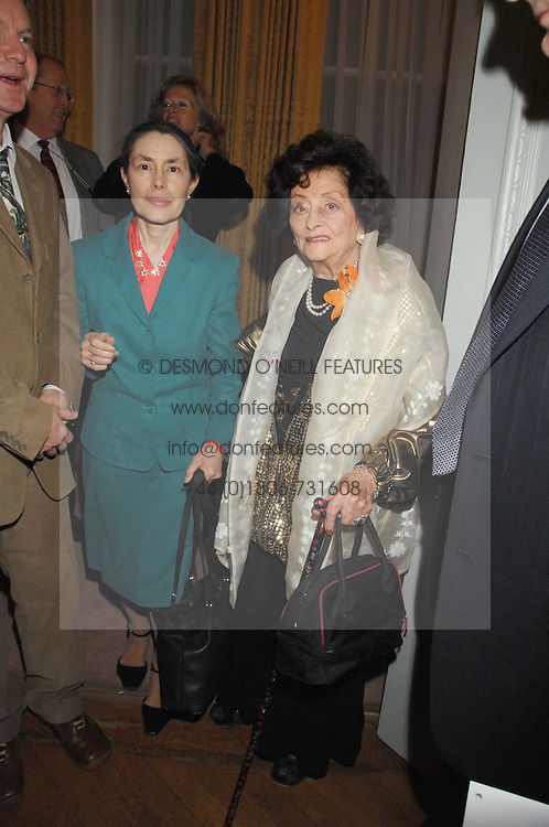 Right, JACQUELINE, LADY KILLEARN at a party to celebrate the publication of 'Arthur's Road' a biography of Arthur Guinness written by Patrick Guinness held at the Irish Embassy, London on 6th March 2008.<br />