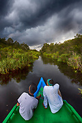 Storm building up over the Sekonyer River (a tributary to Kumai River) in Kalimantan (Tanjung Puting National Park), southern Borneo.