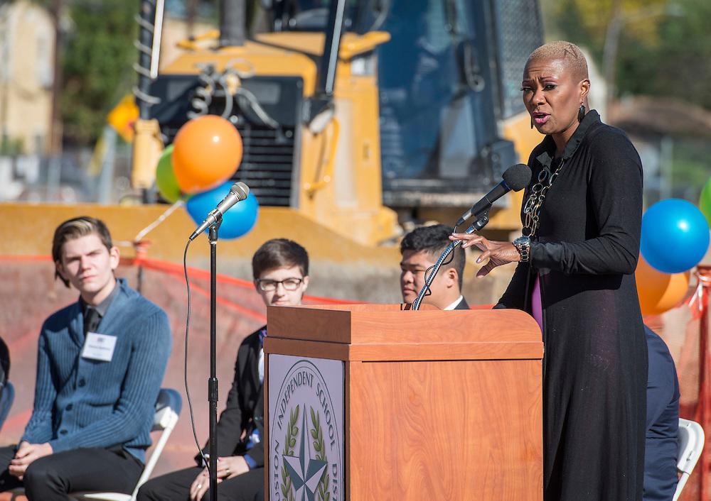 Houston ISD Trustee Jolanda Jones comments during a groundbreaking ceremony for the new Energy Institute High School, November 19, 2016.