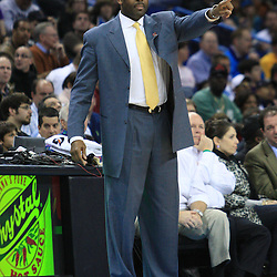 02 February 2009: Portland Trailblazers coach Nate McMillan instructs his team  during a 97-89 loss by the New Orleans Hornets to the Portland Trail Blazers at the New Orleans Arena in New Orleans, LA.