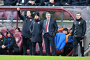 Heart of Midlothian manager Craig Levein and Heart of Midlothian assistant manager Austin McPhee look on during the William Hill Scottish Cup 4th round match between Heart of Midlothian and Hibernian at Tynecastle Stadium, Gorgie, Scotland on 21 January 2018. Photo by Craig Doyle.