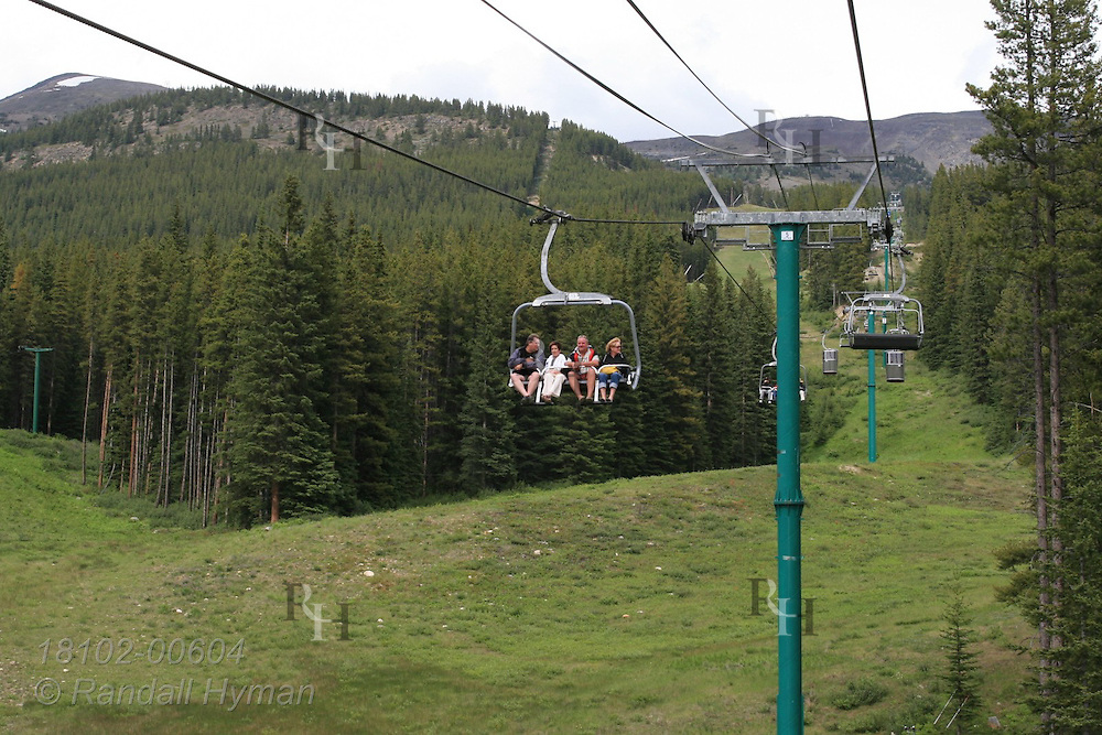 Ski resort gondolas function in summer as sightseeing ride in the Lake Louise area of Banff National Park, Alberta, Canada.