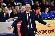 Attilio Caja<br /> Openjobmetis Varese - Carpegna Prosciutto Basket Pesaro<br /> Basket Serie A LBA 2019/2020<br /> Varese 15 December 2019<br /> Foto Mattia Ozbot / Ciamillo-Castoria