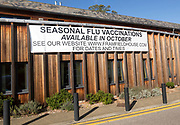 Sign Seasonal Flu Vaccinations available in October, Framfield House health centre surgery, Woodbridge, Suffolk, England, UK