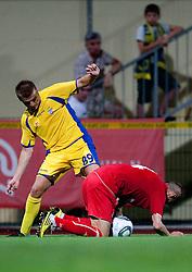Slobodan Vuk of Domzale vs Igor Budisa of Split UEFA Europa League, Second Qualifying Round, 1st Leg, NK Domzale vs RNK Split, on July 14, 2011, in Sports park Domzale, Slovenia. (Photo by Vid Ponikvar / Sportida)