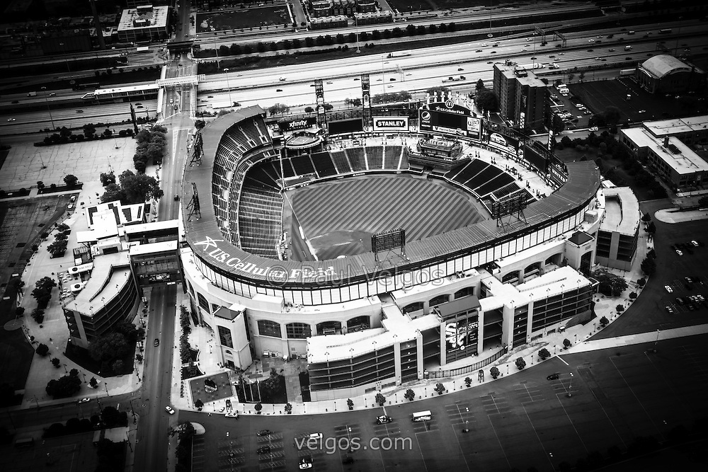 U.S. Cellular Field aerial picture in black and white. U.S. Cellular Field (Comiskey Park) is a baseball stadium in Chicago and is home to the Chicago White Sox Major League Baseball team. Photo was taken in 2013 from a helicopter and is high resolution.