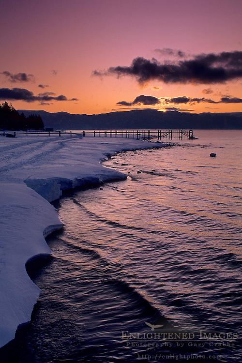 Winter sunrise over Lake Tahoe, near Kings Beach, California