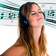 Digitally enhanced image og a young teen appreciates music on her headphones with a blended in music motif background