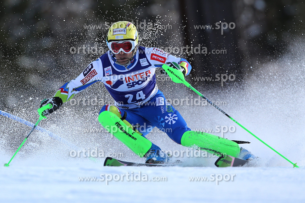 06.01.2014, Stelvio, Bormio, ITA, FIS Weltcup Ski Alpin, Bormio, Slalom, Herren, im Bild Mitja Valencic // Mitja Valencic  in action during mens Slalom of the Bormio FIS Ski World Cup at the Stelvio in Bormio, Italy on 2014/01/06. EXPA Pictures © 2014, PhotoCredit: EXPA/ Sammy Minkoff<br /> <br /> *****ATTENTION - OUT of GER*****