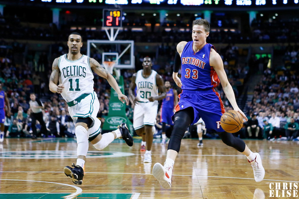 03 April 2013: Detroit Pistons power forward Jonas Jerebko (33) is seen on the fast break during the Boston Celtics 98-93 victory over the Detroit Pistons at the TD Garden, Boston, Massachusetts, USA.