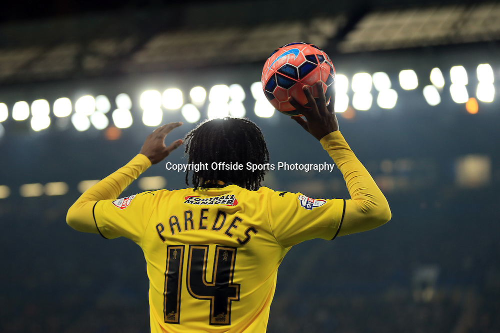 4 January 2015 - The FA Cup 3rd Round - Chelsea v Watford - Juan Carlos Paredes of Watford takes a throw in - Photo: Marc Atkins / Offside.