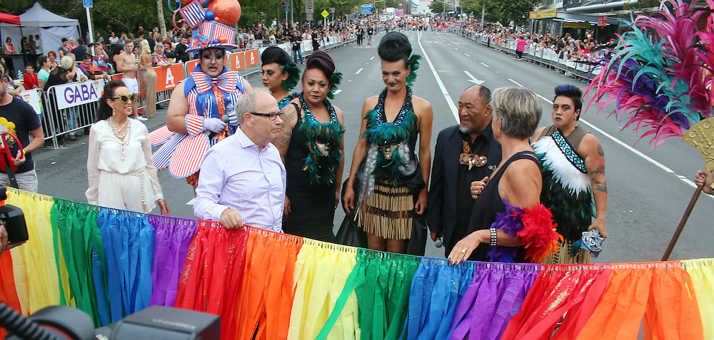 Auckland Mayor Len Brown opens the annual Gay Pride Parade through the streets of Ponsonby, Auckland, New Zealand, Saturday, February 21, 2015. Credit:SNPA / Matt Hunter