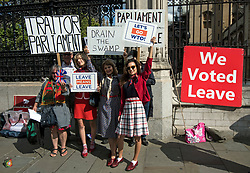 © Licensed to London News Pictures. 04/09/2019. London, UK. Pro Brexit campaigners gather outside the Houses of Parliament in Westminster, London. British Prime Minister Boris Johnson has a called for a general election after losing his first commons vote and losing his majority, removing his control of parliament. Photo credit: Ben Cawthra/LNP