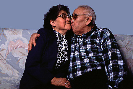 Alaska native retired couple show their affection
