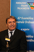Sport Basket<br /> Roma 07-02-2009<br /> Hotel Ergife 41&deg; Assemblea Generale Ordinaria<br /> nella foto il neo eletto presidente Dino Meneghin in conferenza stampa