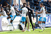Crawley Town forward Beryly Lubala celebrates his goal to make it 1-1 during the EFL Sky Bet League 2 match between Macclesfield Town and Crawley Town at Moss Rose, Macclesfield, United Kingdom on 7 September 2019.