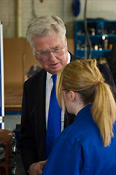 Pictured: Sir Michael Fallon meet apprentice Abbie Cairns during his tour of MacTaggart Scott.<br /> Today Defence Secretary Sir Michael Fallon visited Midlothian engineering firm MacTaggart Scott which designs, builds and installs lightweight, low-noise hydraulic systems used by the British, US, French, Canadian, Australian and South Korean navies.<br /> Ger Harley | EEm 2 February 2017