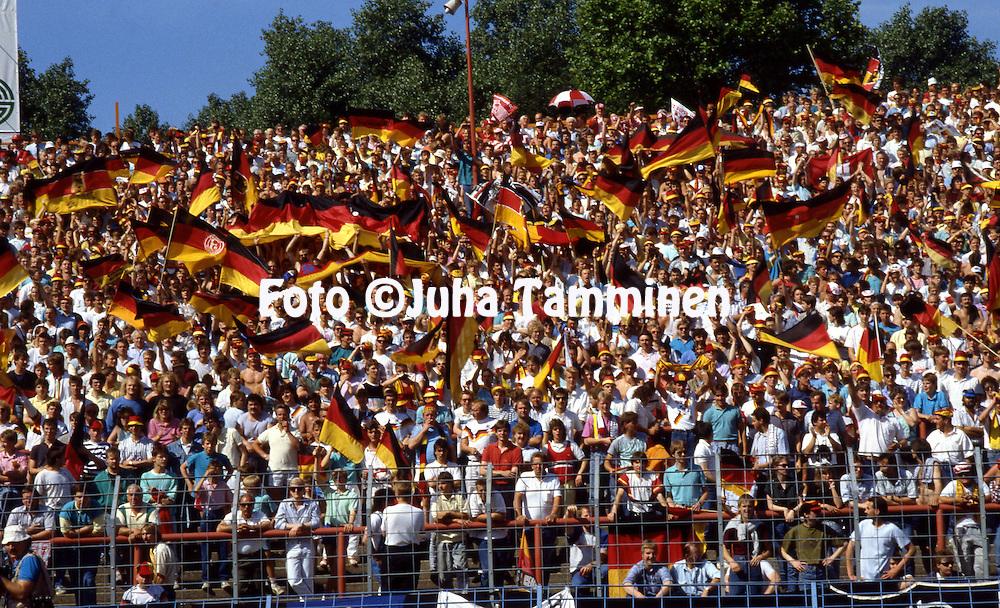 UEFA European Championship - West Germany 1988<br /> 14.6.1988, Parkstadion, Gelsenkirchen.<br /> Group 1, West Germany v Denmark.<br /> German supporters.