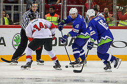 Ales Kranjc of Slovenia and Ales Music of Slovenia during Ice Hockey match between National Teams of Hungary and Slovenia in Round #3 of 2018 IIHF Ice Hockey World Championship Division I Group A, on April 25, 2018 in Arena Laszla Pappa, Budapest, Hungary. Photo by David Balogh / Sportida