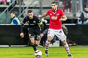 ALKMAAR - 16-02-2017, AZ - Olympique Lyon, AFAS Stadion, Olympique Lyon speler Maxime Gonalons, AZ speler Alireza Jahanbakhsh