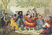 Spanish dancers. 19th century coloured lithograph.