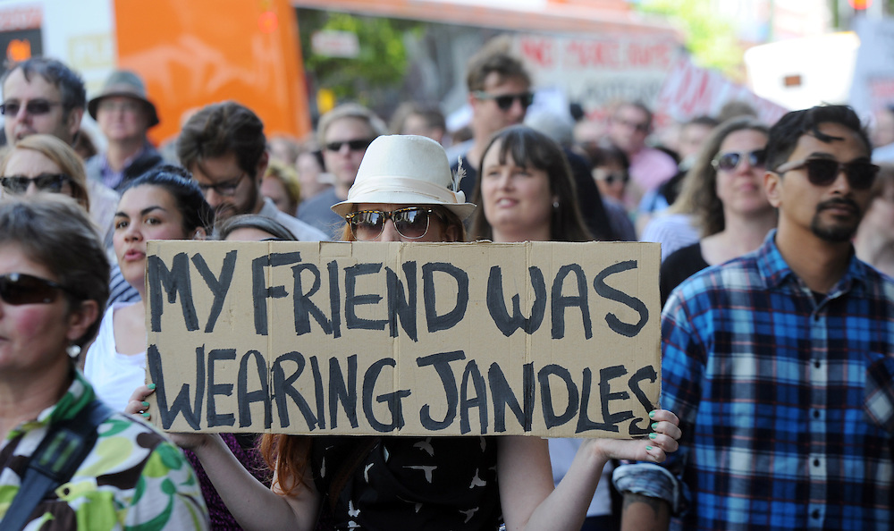 "Several hundred people marched in a ""Put a Stop to Rape Culture"" protest through the streets of the capital, Wellington, New Zealand, Saturday, November 16, 2013. Credit:SNPA / Ross Setford"