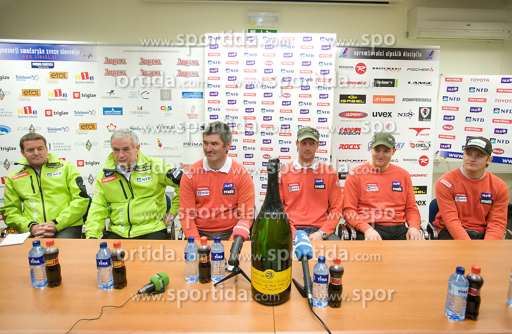 Matjaz Sarabon, Anton Ribnikar of SZS, Urban Planinsek, Andrej Jerman, Andrej Sporn and Andrej Krizaj of Slovenian men ski national team  at press conference of Slovenian Ski Federation one day after Andrej Jerman won during Men's Downhill of the Audi FIS Ski World Cup 2009/10 - Bormio 2009, on December 30, 2009, in SZS, Ljubljana, Slovenia.  (Photo by Vid Ponikvar / Sportida)