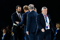 Australia Head Coach Michael Cheika is commiserated by Prince Harry after New Zealand win the match 34-17 to become 2015 World Cup Champions - Mandatory byline: Rogan Thomson/JMP - 07966 386802 - 31/10/2015 - RUGBY UNION - Twickenham Stadium - London, England - New Zealand v Australia - Rugby World Cup 2015 FINAL.