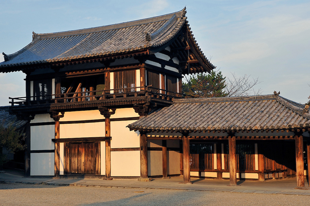 Shoro, the bell house..H?ry?-ji is one of Japan's oldest Buddhist temples..Its main hall, five storied pagoda and central gate, dating from the 7th century, are the world's oldest surviving wooden structures.
