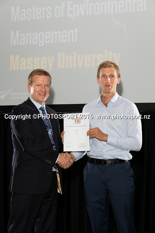 Hon. Jonathan Coleman presents certificate to Rowing Alister Bond at the High Performance Sport NZ Waikato ceremony for the Prime Minister's Scholarship Awards, at Sir Don Rowlands Centre, Lake Karapiro, Cambridge, New Zealand, 20 April 2016. Copyright Photo: Stephen Barker / www.photosport.nz