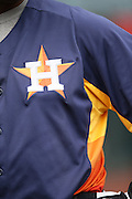 ANAHEIM, CA - APRIL 14:  Closeup of the Houston Astros logo on a jersey during batting practice before the game against the Los Angeles Angels of Anaheim on Sunday, April 14, 2013 at Angel Stadium in Anaheim, California. The Angels won the game 4-1. (Photo by Paul Spinelli/MLB Photos via Getty Images)