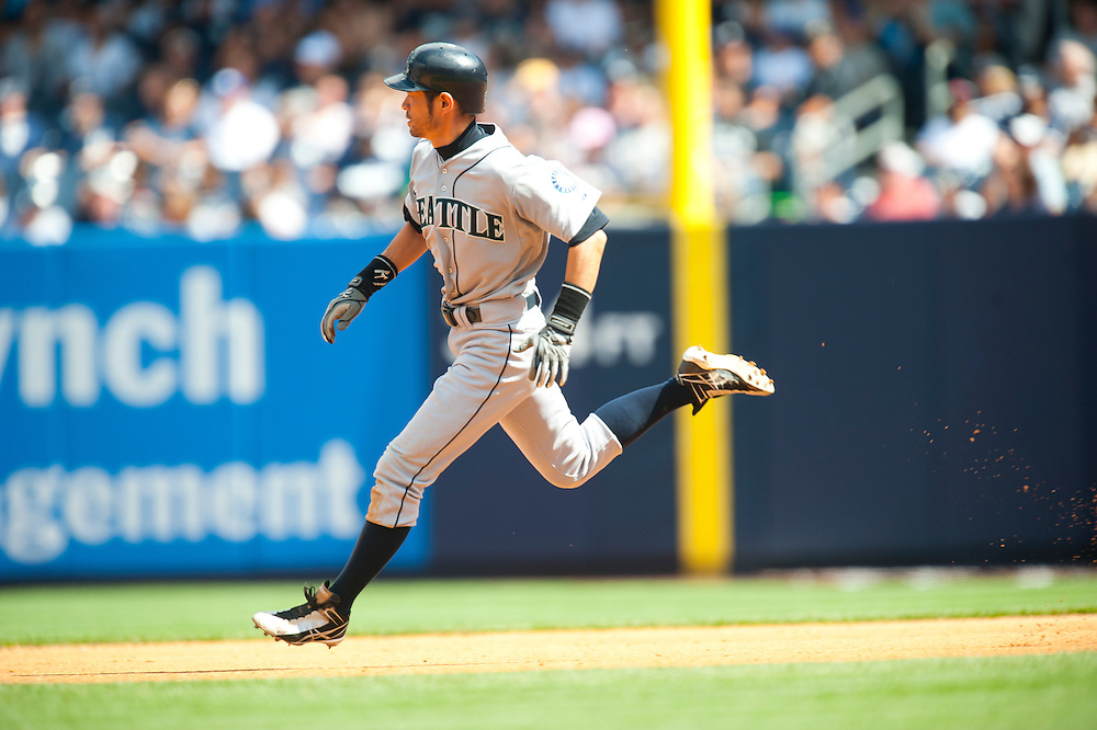 NEW YORK - JULY 27: Ichiro Suzuki #51 of the Seattle Mariners runs the bases during the game against the New York Yankees at Yankee Stadium on July 27, 2011 in the Bronx borough of Manhattan. (Photo by Rob Tringali) *** Local Caption *** Ichiro Suzuki