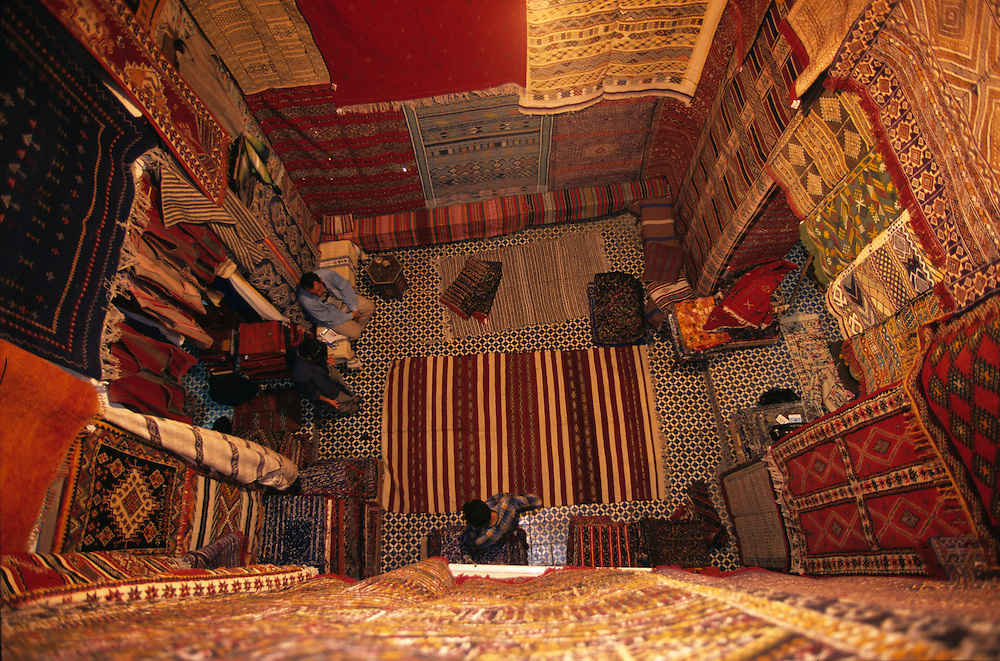 Carpet store  in Fès, Morocco.