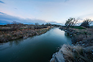 Musselshell River, Goffena Bridge, east of Roundup, Montana, dusk