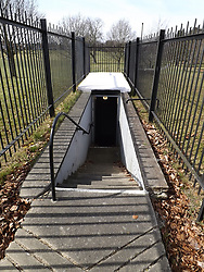 © Licensed to London News Pictures. 16/03/2018. Gravesend, UK. An original Cold War bunker in Woodlands park, Gravesend, Kent, which has been restored and will be opened to the public this weekend, as tensions between Russia and the UK increase over the recent assassination attempt of former Russian spy Sergei Skripal. The bunker was an underground command post, built in 1954, from which Gravesend's rescue and emergency services were to be co-ordinated in the event of a nuclear attack. Its 13 rooms contained power and ventilation plant, communications areas for the command staff and various dormitories.. Photo credit: Graham Long/LNP