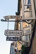 SANTIAGO DE COMPOSTELA, SPAIN - 10th October 2017 - Signs outside a tapas bar in Santiago de Compostela, Galicia, Spain.