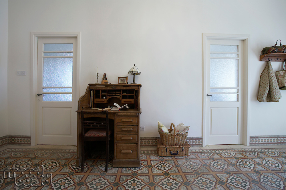 Cyprus writing desk in entrance hall of 1950's town house