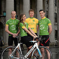 29 January 2014; In attendance at the launch of the 2014 An Post Rás is model Aoife Cogan with Irish riders, from left, Roger Aiken, Connor McConvey and Ronan McLaughlin. The race will begin on Sunday May 18th, in Dunboyne, Co. Meath, and finish on Sunday May 25th, in Skerries, Co. Dublin. An Post Rás 2014 Launch, GPO, O'Connell Street, Dublin. Picture credit: Brendan Moran / SPORTSFILE