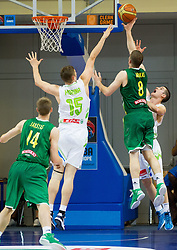 Dovydas Redikas of Lithuania between Gezim Morina of Slovenia and Jan Span of Slovenia during basketball match between National teams of Slovenia and Lithuania in First Round of U20 Men European Championship Slovenia 2012, on July 14, 2012 in Domzale, Slovenia.  (Photo by Vid Ponikvar / Sportida.com)