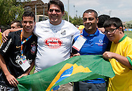 Famous Brazilian former soccer player Romario meets Brazilian team while divisioning competition of male's football 7-a-side during 2011 Special Olympics World Summer Games Athens on June 26, 2011..The idea of Special Olympics is that, with appropriate motivation and guidance, each person with intellectual disabilities can train, enjoy and benefit from participation in individual and team competitions...Greece, Athens, June 26, 2011...Picture also available in RAW (NEF) or TIFF format on special request...For editorial use only. Any commercial or promotional use requires permission...Mandatory credit: Photo by © Adam Nurkiewicz / Mediasport