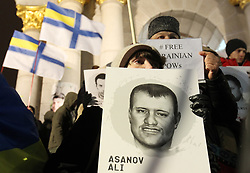 December 17, 2018 - Kiev, Ukraine - Ukrainian activists attend a rally in support of captured Ukrainian navy sailors and other Ukrainian prisoners jailed in Russia, whose arrests were politically-motivated according to organizers, on the Independence Square in Kiev, Ukraine, on 17 December 2018. Ukrainians held the rally in support of 24 Ukrainian navy sailors which were seized by Russia during the Kerch Strait incident on 25 November 2018, and other Ukrainian political prisoners in Russia, Crimea and the conflict zone of the East of Ukraine. On 26 November Ukrainian Parliament voted for accepting of the state of martial law for 30 days in 10 regions that border Russia, the Black Sea and the Azov Sea. (Credit Image: © Serg Glovny/ZUMA Wire)