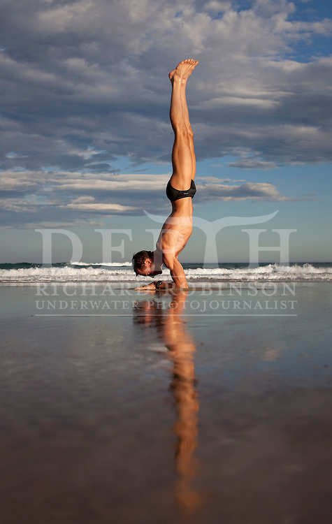 No Reproduction without prior written permission :<br /> William Trubridge world champion Freediver training at Ocean Beach, Hawkes Bay New Zealand. .In November 2010 at Dean's Blue Hole in the Bahamas New Zealand Free Diver William Trubridge descended to a depth of 101m  to break the hectometer.<br /> Monday 27 December 2010.<br /> Photograph Richard Robinson &copy; 2010.