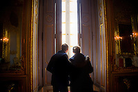 Strasbourg, France - November 15, 2014: Visitors peer out a window of Palais Rohan from a room once inhabited by Marie Antoinette. Palais Rohan like most things in Strasbourg has changed hands between the Germans and the French several times.  Today it houses museums of archaeology,<br /> decorative arts and fine arts. CREDIT: Chris Carmichael for the New York Times