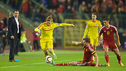 BRUSSELS, BELGIUM - Sunday, November 16, 2014: Wales' George Williams in action against Belgium during the UEFA Euro 2016 Qualifying Group B game at the King Baudouin [Heysel] Stadium. (Pic by David Rawcliffe/Propaganda)