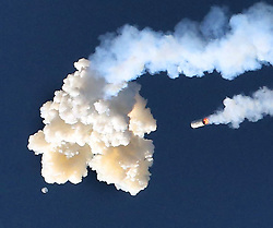 At the moment of the abort manuever, the Orion test capsule (lower left) can be seen emerging from the separation cloud, with the Minotaur 4 booster falling (right), during the Ascent Abort-2 mission at Cape Canaveral Air Force Station, FL, USA, on Tuesday, July 2, 2019. Photo by Joe Burbank/Orlando Sentinel/TNS/ABACAPRESS.COM