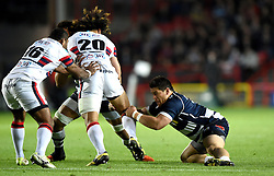 Bristol Rugby replacement Gaston Cortes tackles Doncaster Knights replacement Latu Makaafi - Mandatory byline: Joe Meredith/JMP - 25/05/2016 - RUGBY UNION - Ashton Gate Stadium - Bristol, England - Bristol Rugby v Doncaster Knights - Greene King IPA Championship Play Off FINAL 2nd Leg.