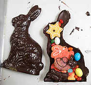A chocolate bunny fielded with cookies and candy at Jean-Claude's Artisian Bakery and Dessert Cafe in Warwick.