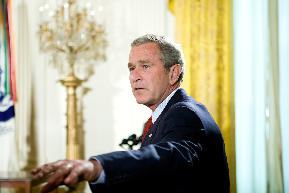 President George W. Bush greets members of the audience at an event commemorating Military Spouse Day in the East Room at the White House in Washington, DC, on Friday, May 11, 2007.